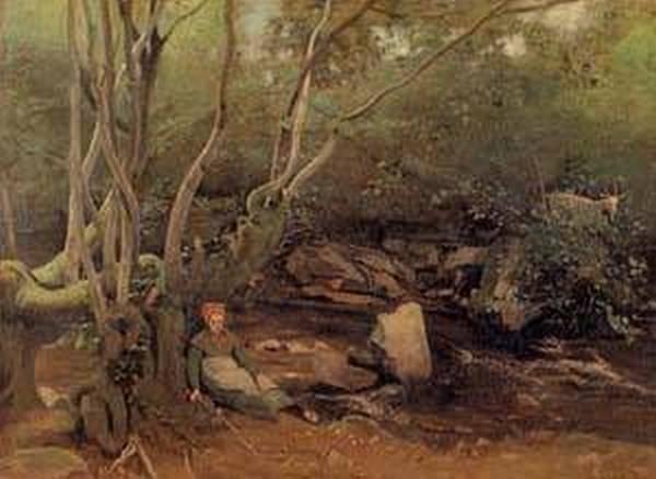Lormes Shepherdess Sitting under Trees beside a Stream 1842